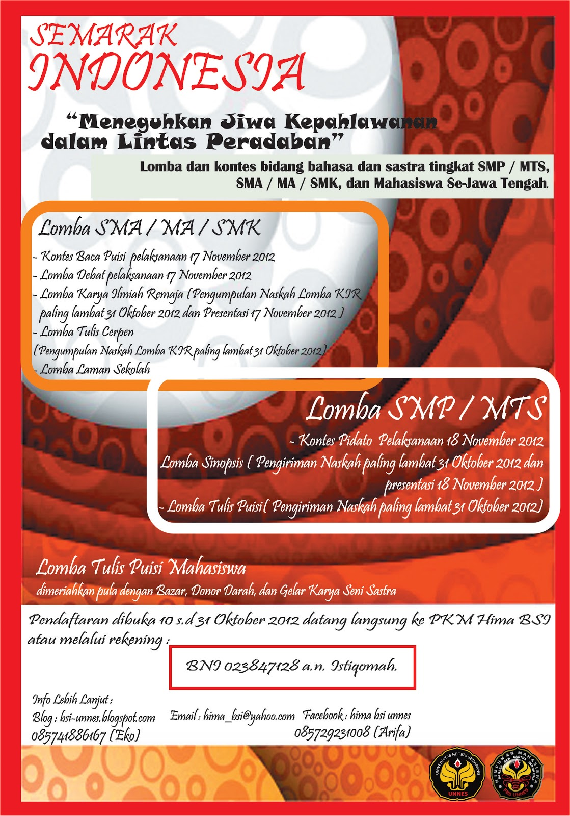 Update) Pendaftaran diperpanjang hingga 7 Nov 2012