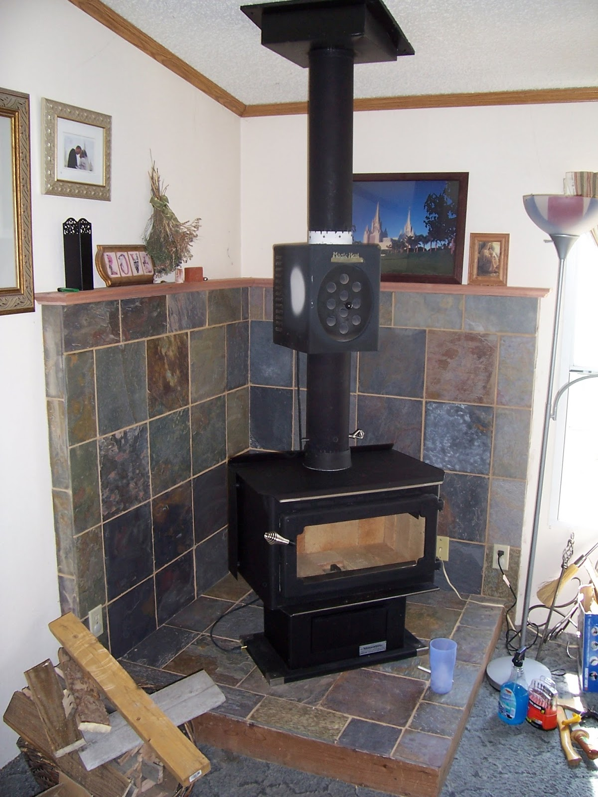 Wood Stove Slate Tile Surround - Li'l Buck's Creations: Wood Stove Slate Tile Surround