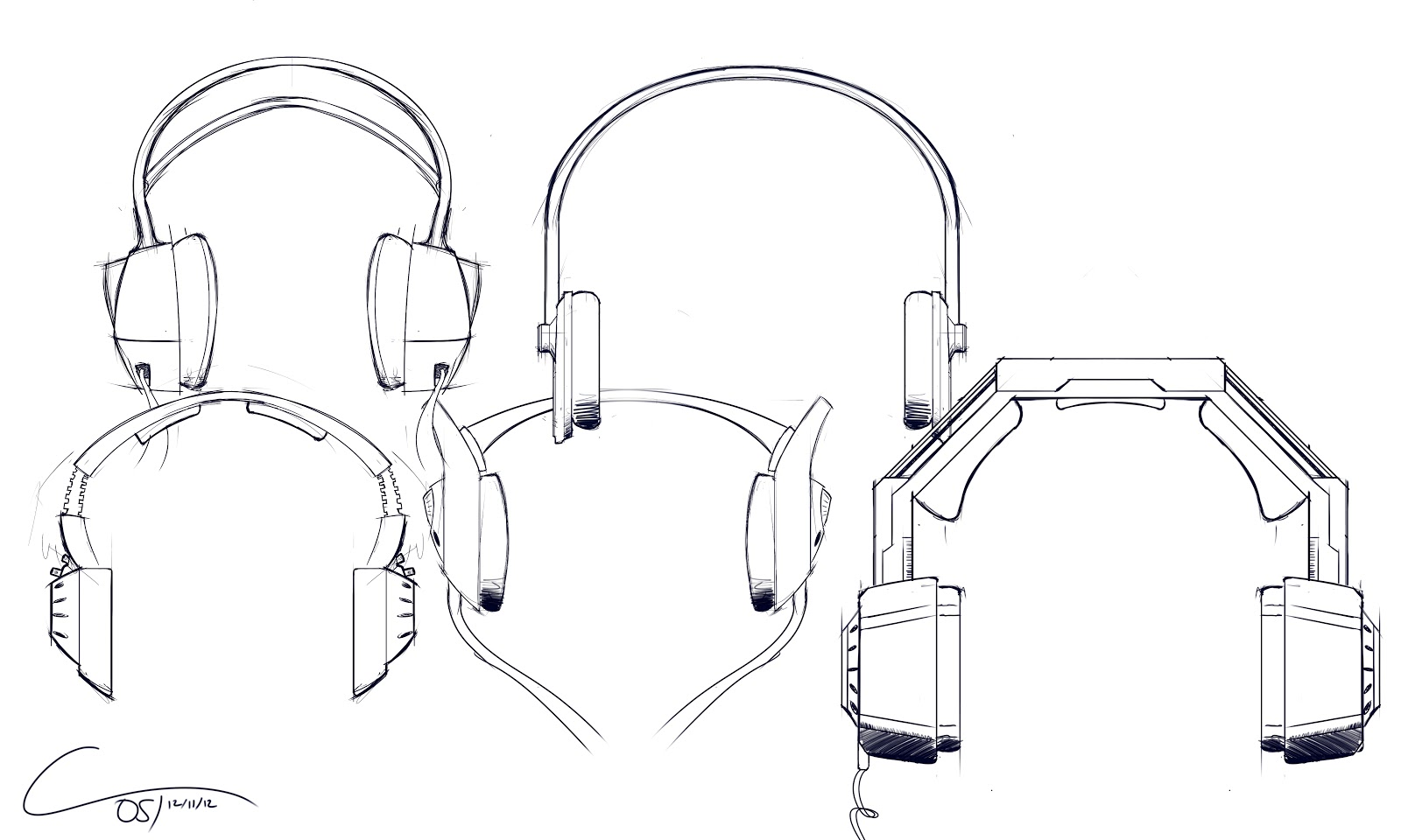 A quick set of headphones sketches i have been listening to a lot of different kinds of music as of late so my interest in headphones has been perked