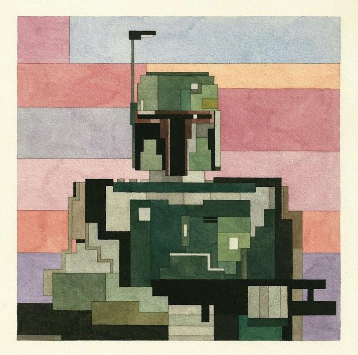 Adam Lister, acuarelas 8 bits, Boba Fett