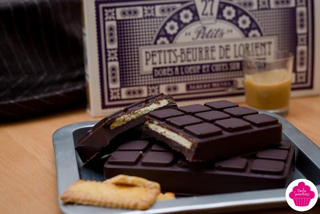 Tablette biscuitée, chocolat et caramel maison