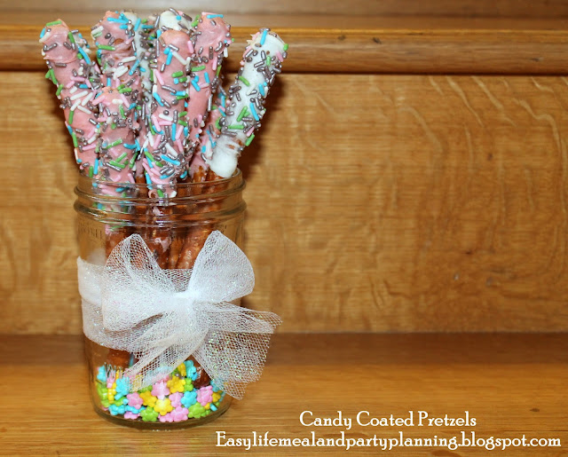 Candy Coated Pretzels in Pink, Teal & Grey for Little Girl Baby Shower - Easy Life Meal & Party Planning