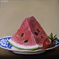 6x6 watermelon on spode plate