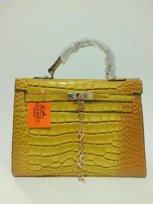 tas wanita terbaru, impor, import, tas branded Kelly Croco, Tas Kelly Croco warna Kuning (Yellow), image