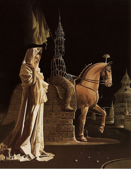 equestrian statue,enigma,surrealism painting