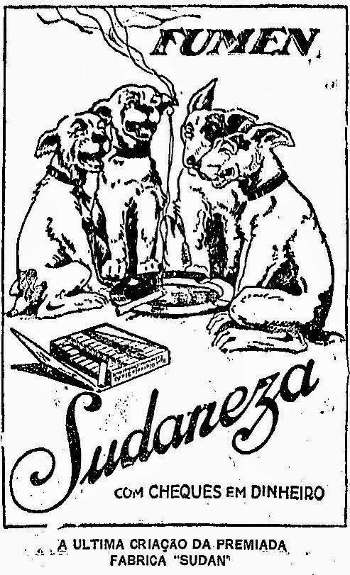 Propaganda dos Cigarros Sudaneza com cachorros em 1925.