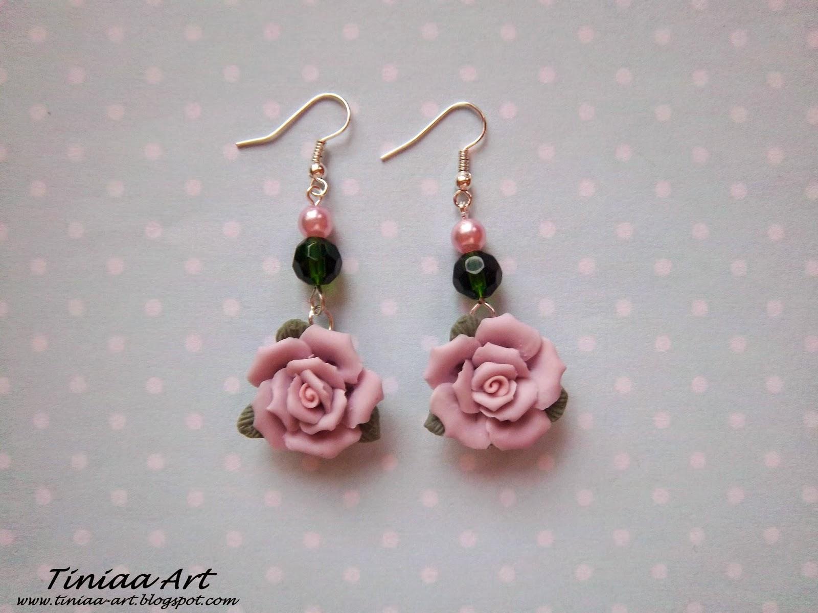 kolczyki pudrowe róże