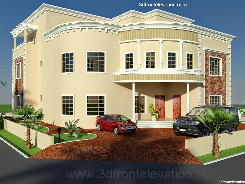 Villa Front Elevation Designs : D front elevation oman new arabian villa plan design
