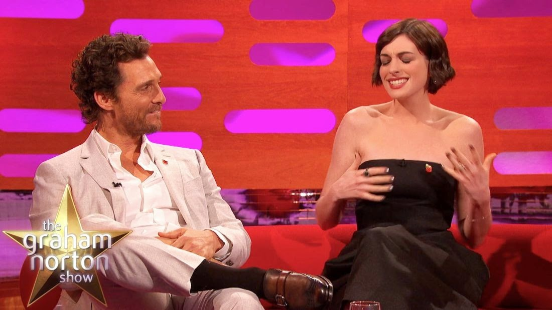 You know that phrase, dance like nobody's watching? Well, that's exactly what Anne Hathaway and Matthew McConaughey do for their appearance on the Graham Norton show on Friday, October 31, 2014.
