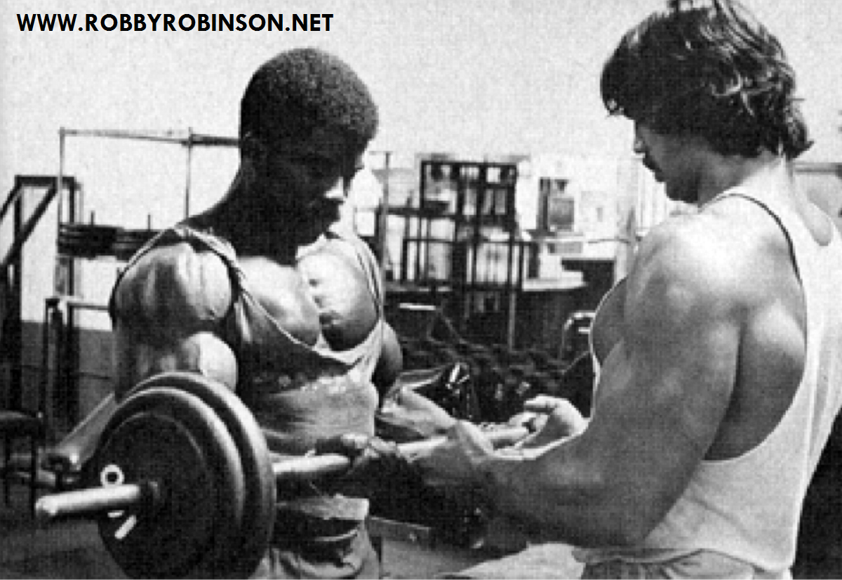 "Robby Robinson and Denny Gable - training workout and photo shoot during filming of Pumping Iron at Gold's, CA Read about RR's training and life experience, about other legends of Golden Era of bodybuilding and what really happened behind the scenes of Weider's empire - in RR's BOOK ""The BLACK PRINCE; My Life in Bodybuilding: Muscle vs. Hustle"" ● www.robbyrobinson.net/books.php ●"