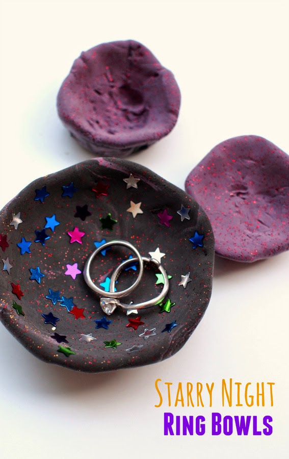 kids craft for mother's day gift- air dry starry night ring bowls