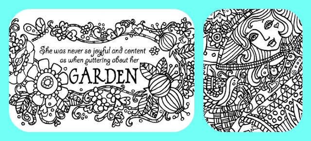 Adult Coloring Page -Garden Girl Quote