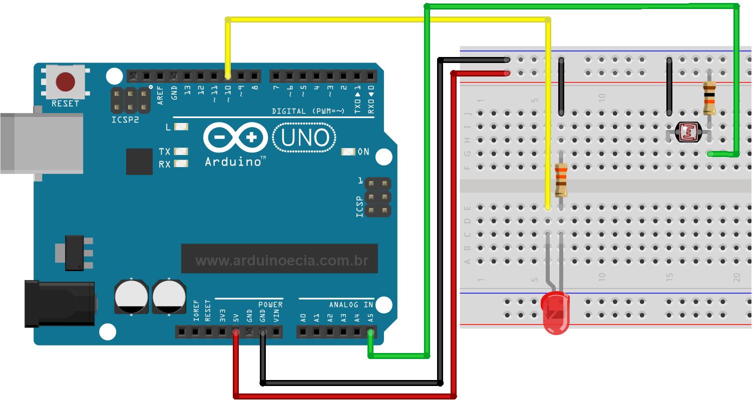 Circuito LDR Dimmer - Arduino Uno