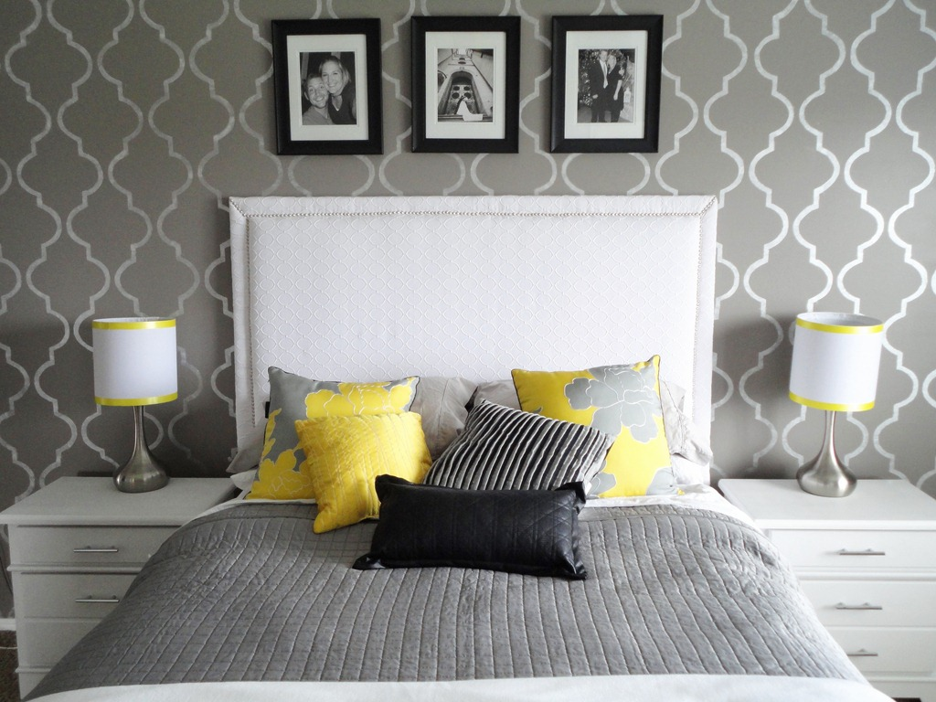 yellow and gray accent bedroom DIY Inspiration