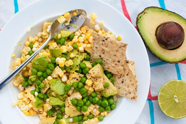 corn, peas, and avocado salad