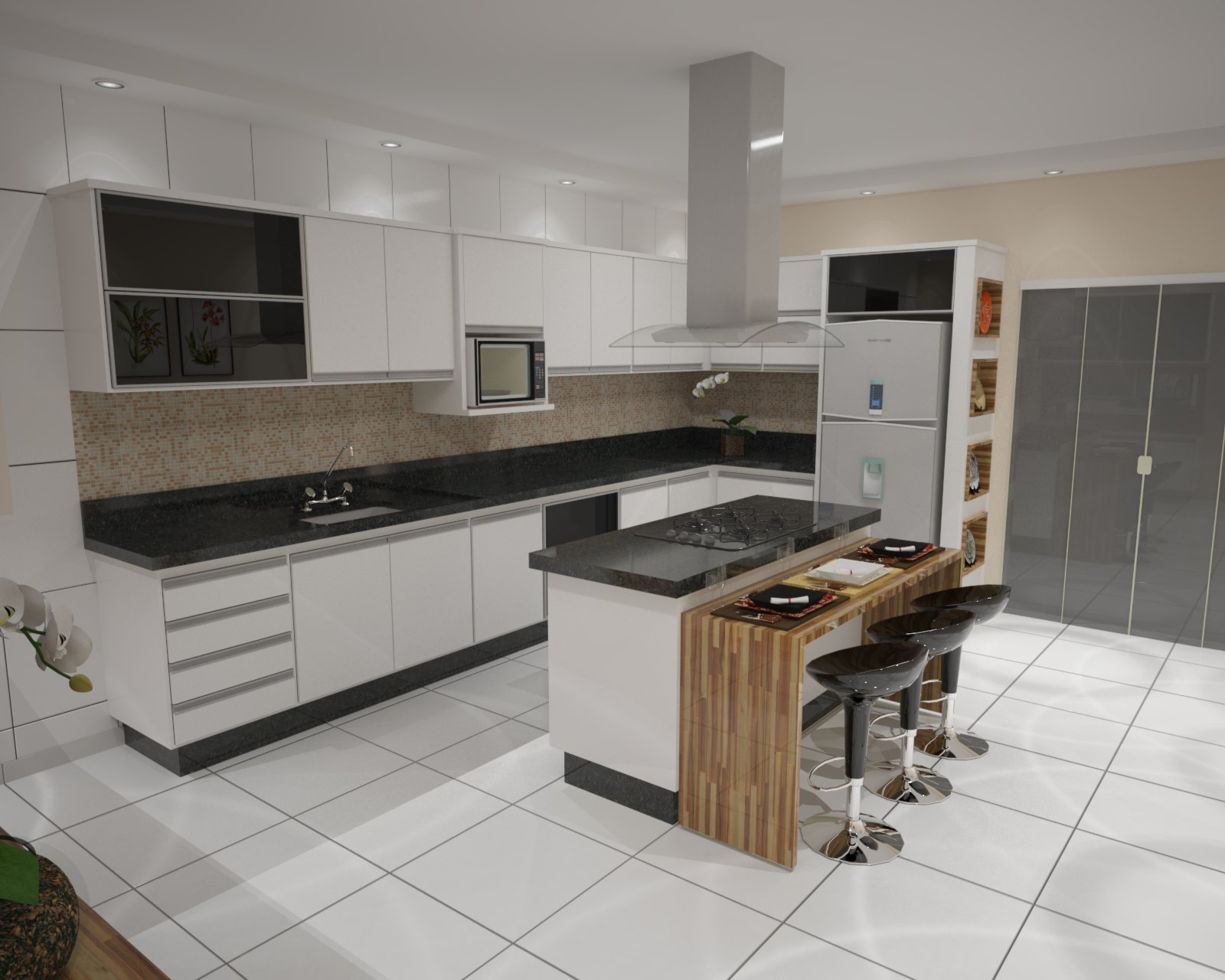 Projetos 3D para Marcenaria: Projetos Cozinhas #4D5E71 1600 1280