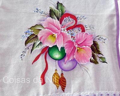 pintura em tecido bolas de natal e orquideas