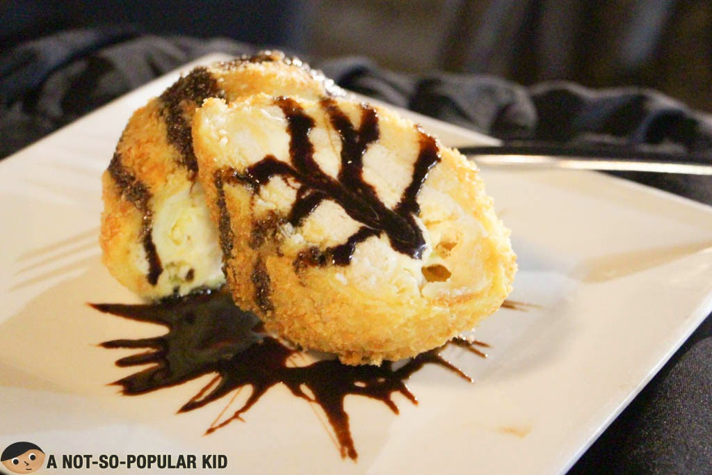 Fried ice cream in bread batter of Seafood Island