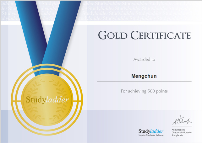 Mengchun Certificates On Studyladder