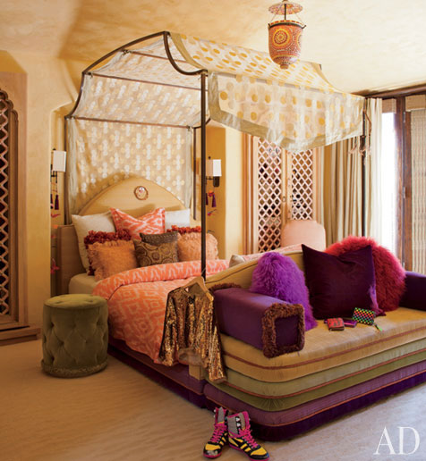 Their daughter, Willow's high ceilinged room has a canopy bed with ...