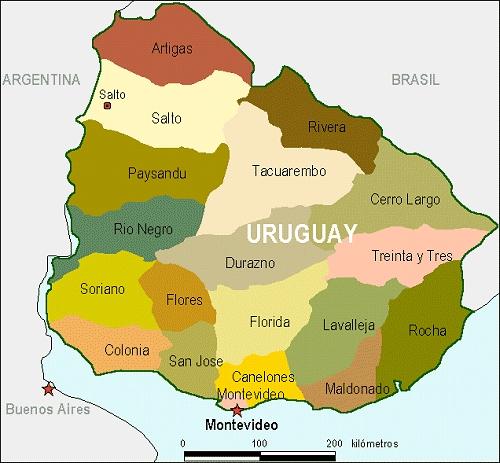 Mapa de Uruguay Con Límites