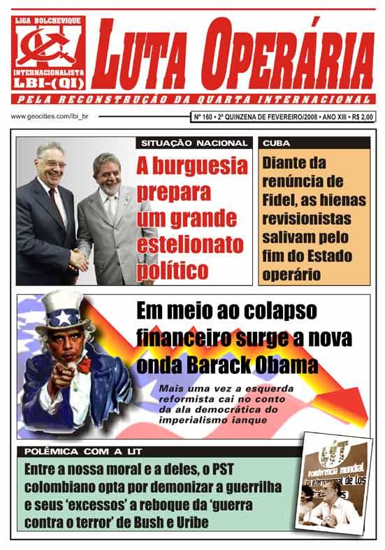 JORNAL LUTA OPERÁRIA Nº 160, 2ª QUINZENA DE FEVEREIRO/2008