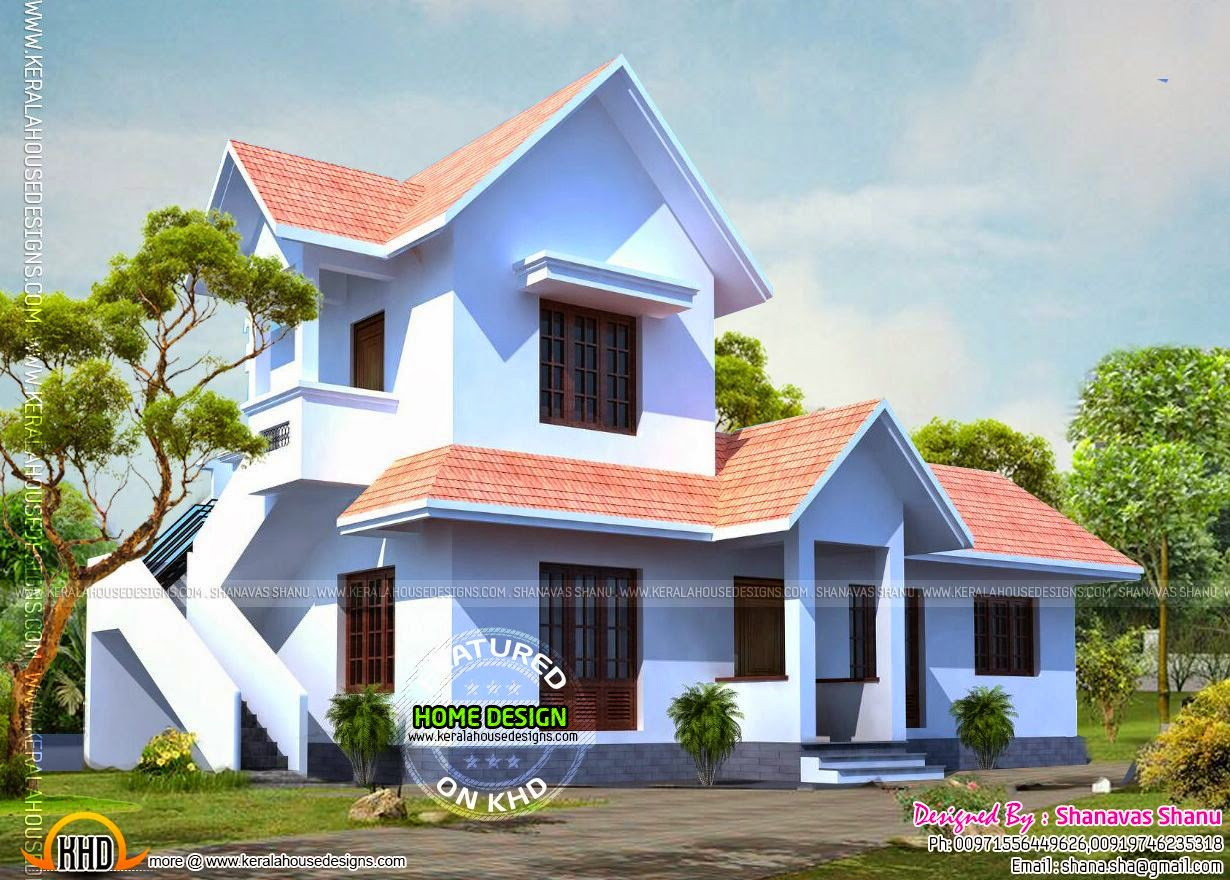 Flat roof contemporary villa keralahousedesigns for Sloped roof house plans in india