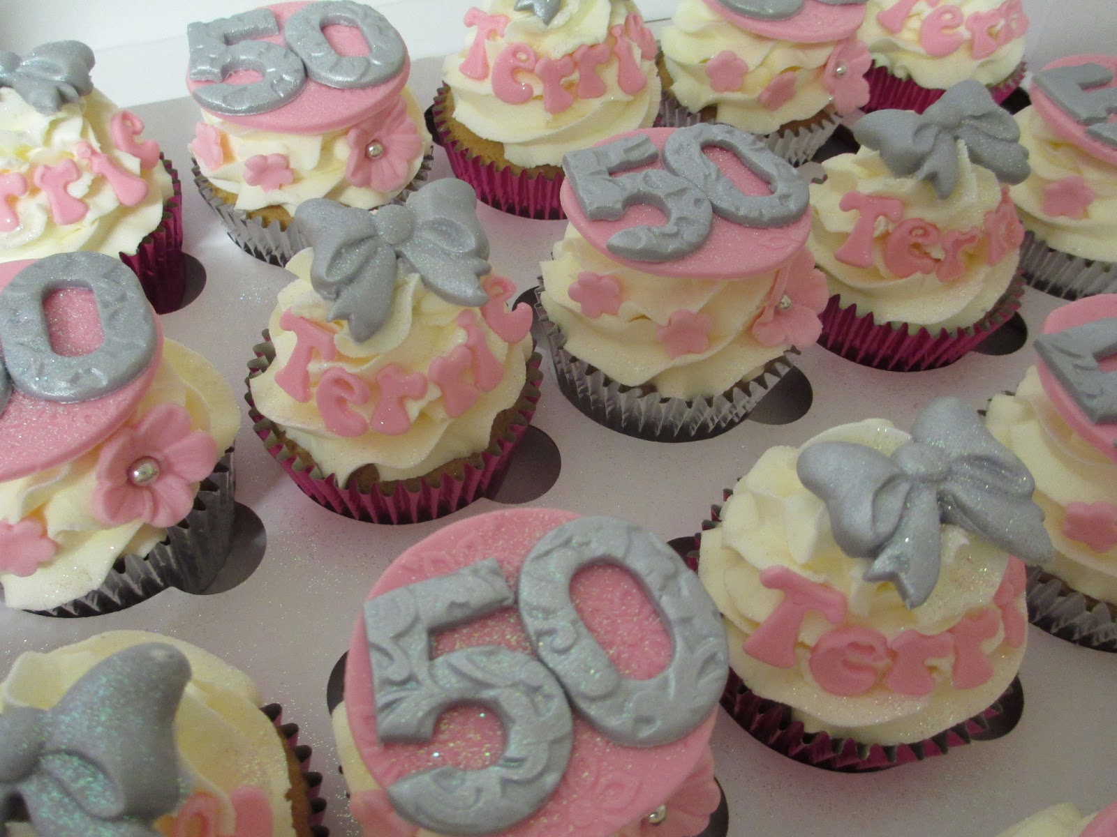 50th Birthday Cupcakes Pink and silver 50th cupcakes