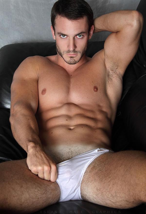 Wet white underwear men