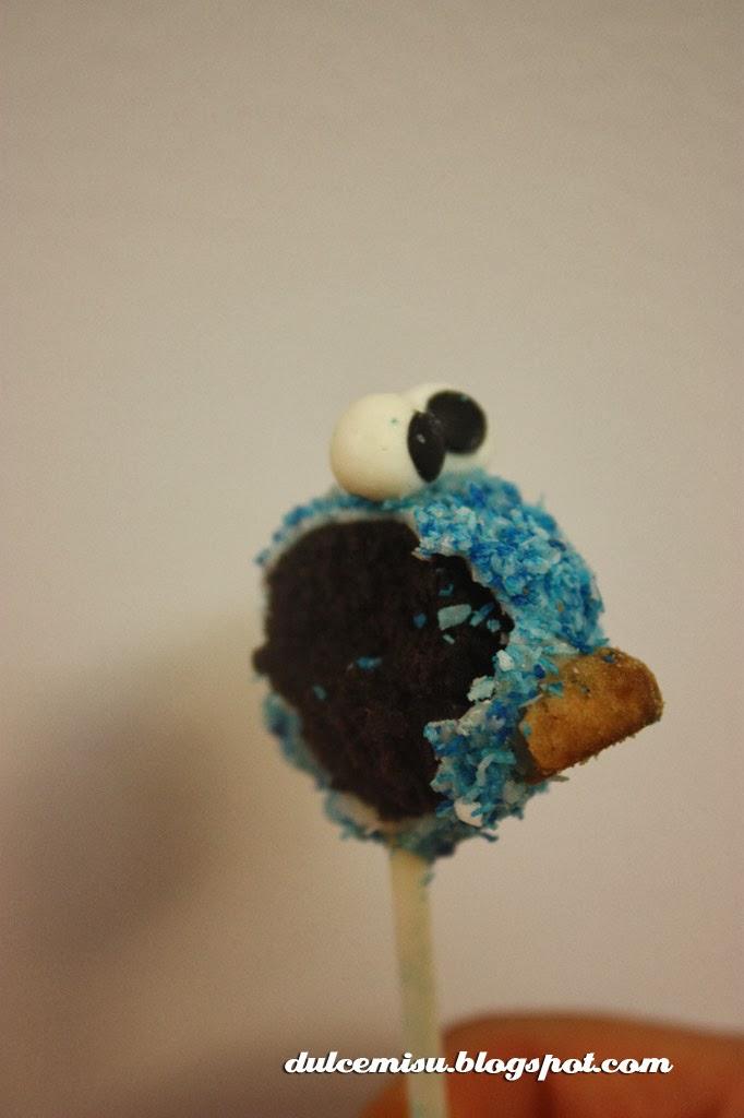 cake pop, triki, monstruo de las galletas, oreo, fondant, dulcemisu, coco