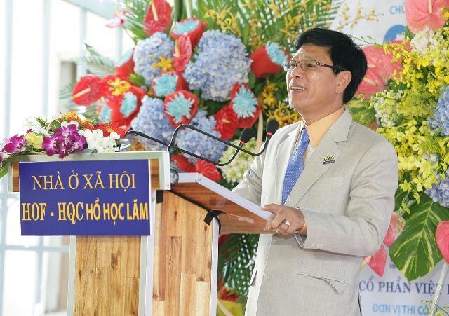 TS.Trương Anh Tuấn – Chủ tịch HĐQT – Tổng Giám đốc Công ty Địa ốc Hoàng Quân phát biểu tại buổi lễ
