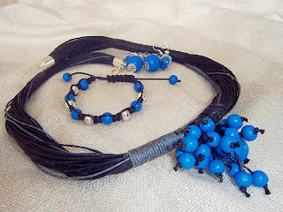 naszyjnik, shamballa, kolczyki - niebieski