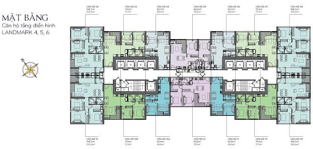 Tòa Landmark 4, 5, 6 có diện tích căn hộ từ 50m2 tới 109m2, bố trí từ 1-3 phòng ngủ.