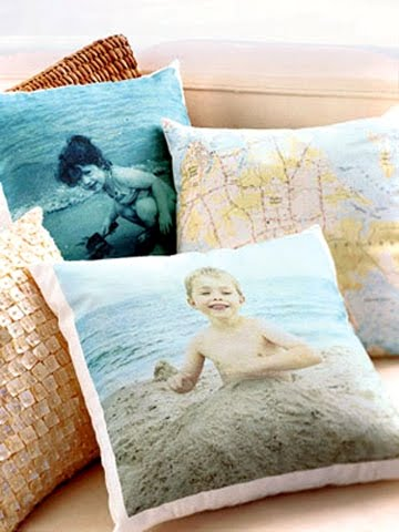 beach vacation photo pillows