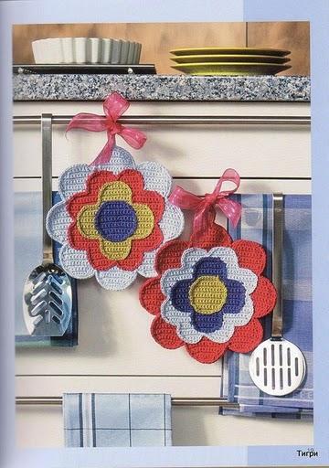 Esfregões em crochet com gráfico para enfeitar a sua cozinha