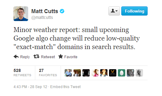 Matt Cutt's Tweet on EMD