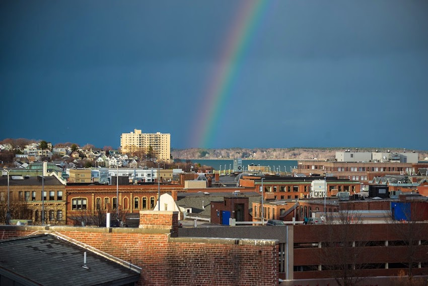 Portland, Maine USA Rainbow over the city. April 27, 2015. Photo by Corey Templeton.