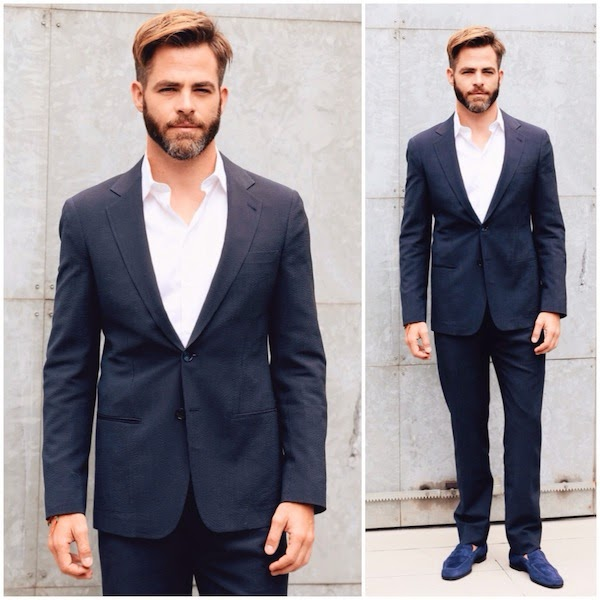 Chris Pine at Giorgio Armani show Milan Menswear Fashion Week Spring Summer 2015