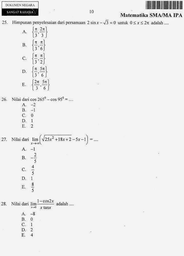 Matematika Di Sma Soal Soal Un Matematika Ipa Sma Ma 2014 Paket Lain Lanjutannya