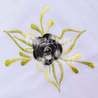 Telekung Vietnam bunga hitam-kelabu / daun hijau-kuning bunga timbul