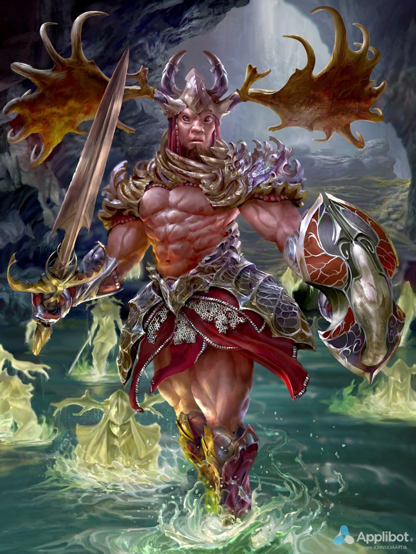 illustration de John Silva représentant un guerrier avec un casque arborant des cornes de rennes