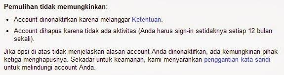 Account Yahoo tidak bisa di pulihkan