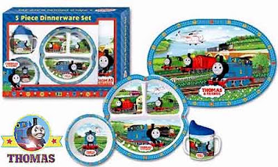 Vibrant deluxe fun kids mealtime Percy Thomas the Tank Engine 5 Piece Dinnerware set truly gorgeous