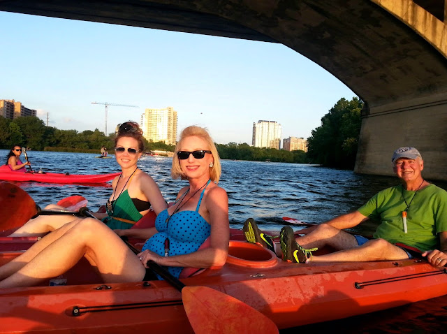 KAYAKING, LADY BIRD LAKE, AUSTIN TEXAS, CONGRESS STREET BRIDGE, LOVE, LAUGH, PADDLE, BATS