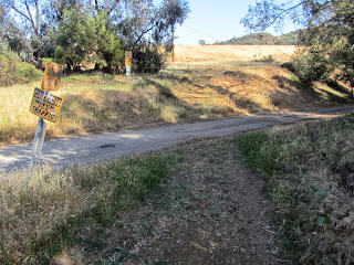 Toyon Trail crossing the restoration facility drive, Griffith Park