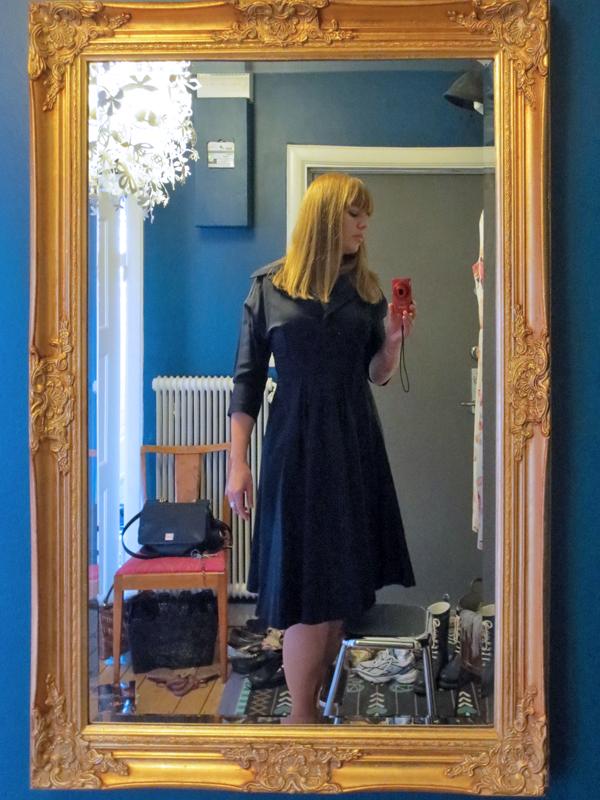Sidenrips 1950-tal vintageklänning