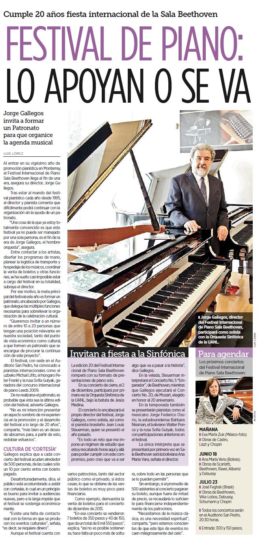 Edición 20 del Festival Internacional de Piano Sala Beethoven
