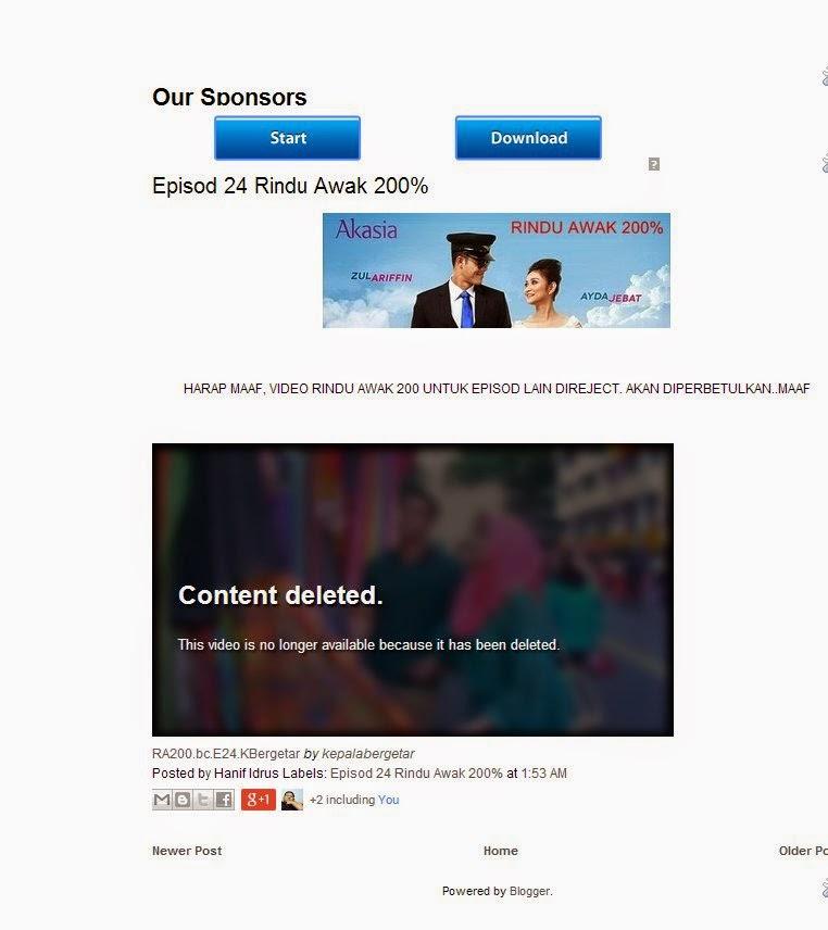 Rindu Awak 200% Online Di Reject