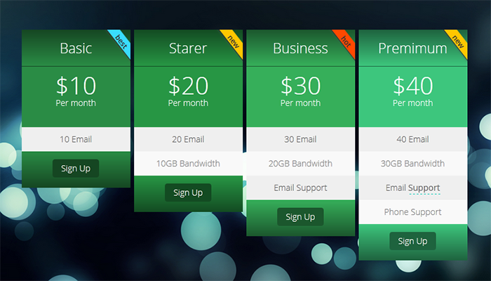 Kento Pricing Table