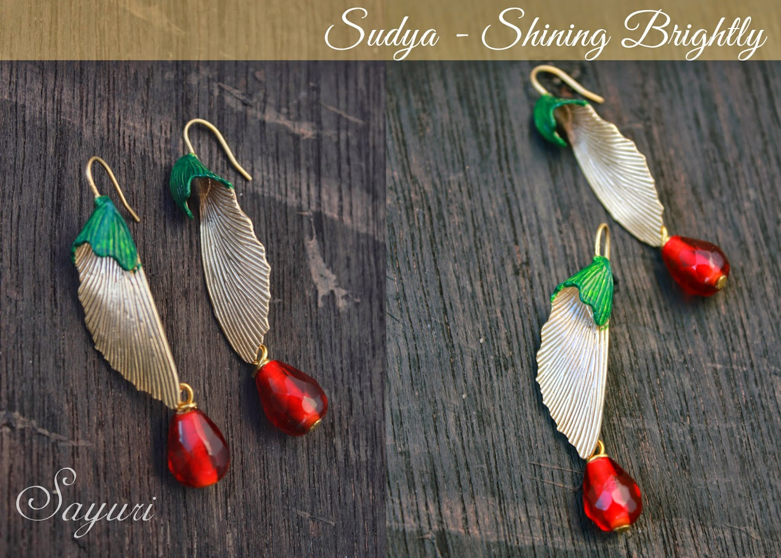 Colorful brass earrings with patina inks